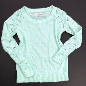 LOFT Ann Taylor | Mint Lace Sleeve Sweater Top